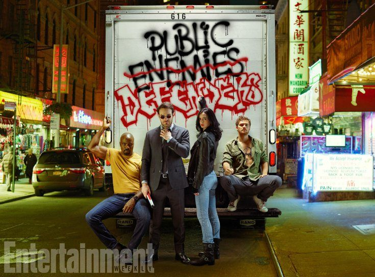 Mike Colter as Luke Cage, Charlie Cox as Daredevil, Krysten Ritter as Jessica Jones, and Finn Jones as Iron Fist