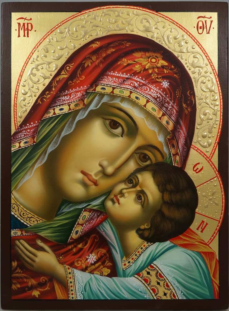 The Virgin Eleousa (halo relief) hand-painted Byzantine icon