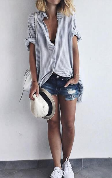 27 Cool Jeans Short Outfits For This Summer