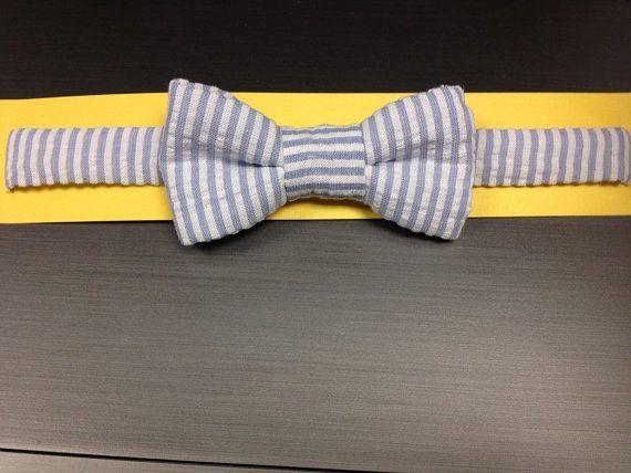 Blue Seersucker Striped Dog Bow Tie Medium by BellieBoop on Etsy, $12.00