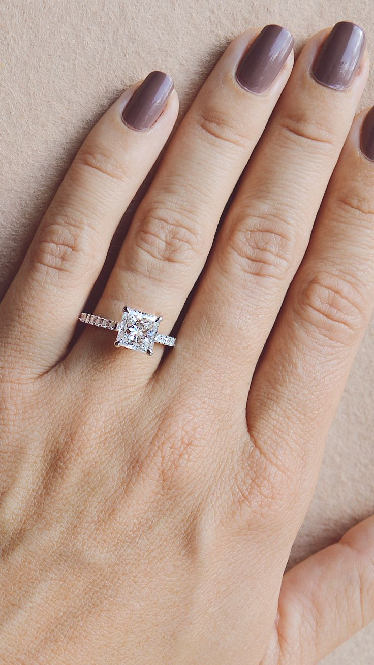 Gorgeous!!  Princess cut diamond engagement ring solitaire style by Ascot Diamon…