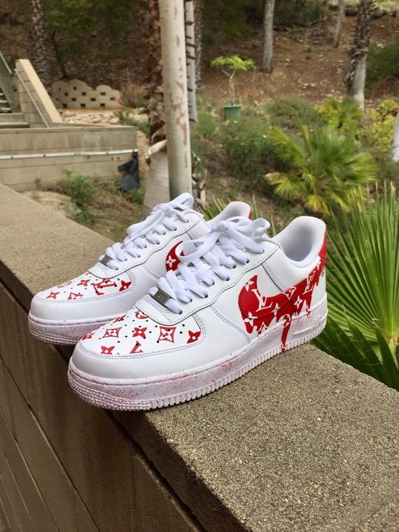 The Best Dripping Red Lv X Supreme Nike Air Force Ones Etsy Nike Air Shoes Nike Shoes Air Force Supreme Shoes