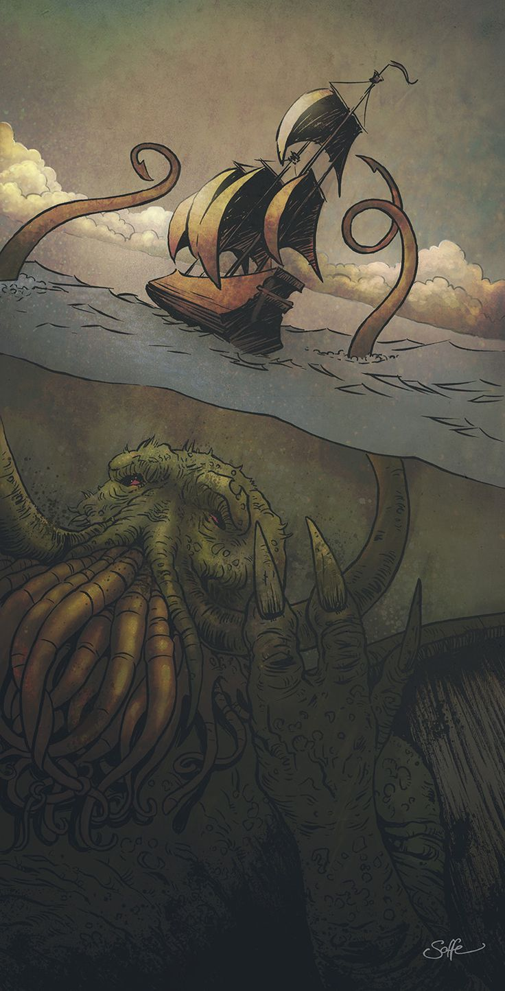 Cthulhu-Kraken awakes by mygrimmbrother.deviantart.com on @deviantART