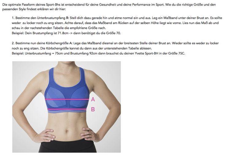 Yvette Sports Bra Guide - die Sport-BH Größe ganz einfach berechnen. Hier ist es erklärt. Unterbrustumfang + breiteste Stelle der Brust und dann einfach nur die Tabelle ablesen.  #sportbh #sportsbra #braguide #messhilfe #bhgröße #yvette #sports #yvette #brasize #sizechart #fitnessbh #runningbh #yogabh
