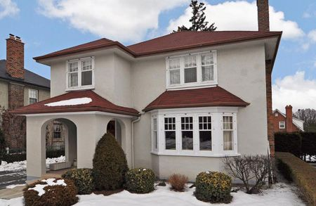 grey green, red roof, white trim