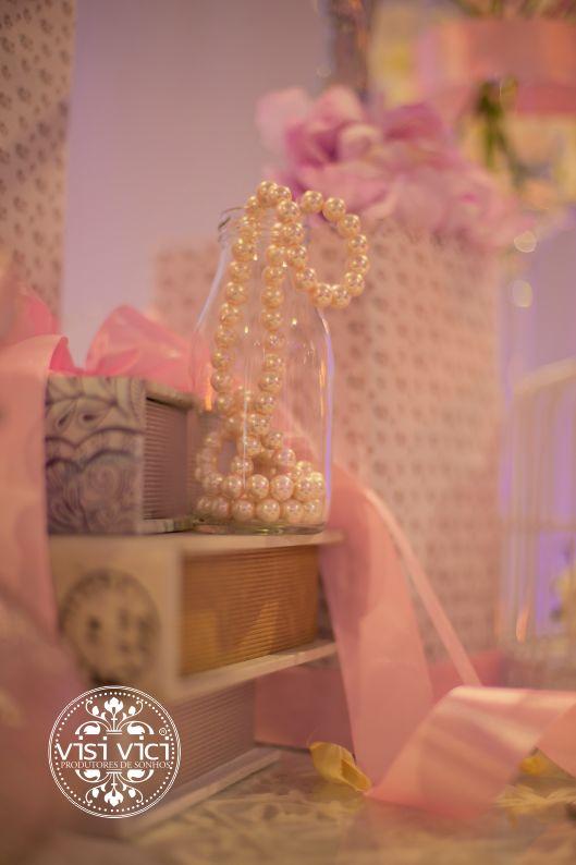 Wedding decoration   pink   pearl   vintage