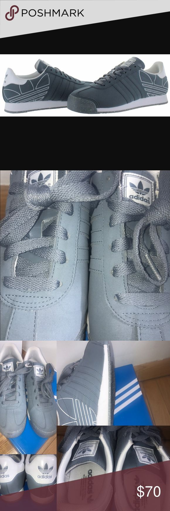ADIDAS ORIGINAL SAMOA GREY MENS RARE SNEAKERS ADIDAS ORIGINAL SAMOA GREY MENS RARE SNEAKERS - Can be worn by woman as well . SOLD OUT IN STORES AND ON EBAY IN THIS COLOR . Size 6.5 men's which is usually a 8 in woman's  Worn about 3 times in great condition 8/10 . Has a wear mark on the right back sole ( see pictures) this can come out with cleaning however . These sell for $100 Adidas Shoes Sneakers