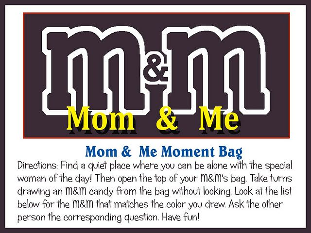 Mom & Me Moment - Free Printable activity for Moms and children. Great Mothers day fun!