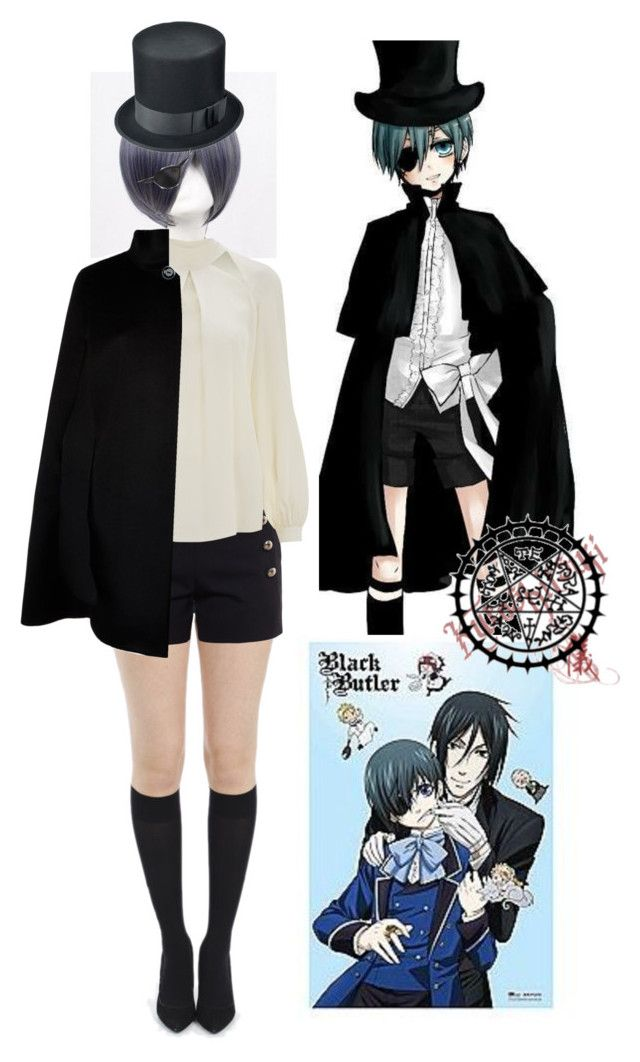 """Ciel Phantomhive-Black Butler Easy Cosplay/Halloween Costume"" by beautyandstylefox ❤ liked on Polyvore featuring Coshome, Chloé, Temperley London, Harrods and Masquerade"