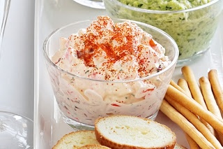 A number of recipes here:  Shrimp & cheese  Hummus  Salsa