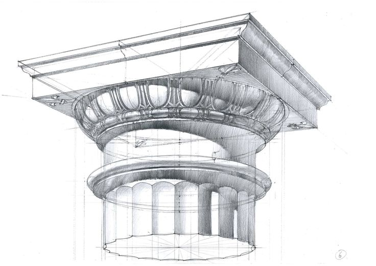 CS Pencil technical drawing of section, detailed shading. 'Michal Suffczynski Doric order, pencil study'