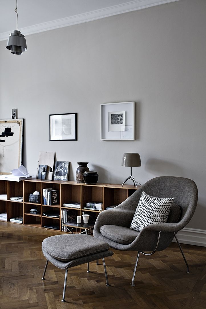 mid century modern, womb chair, bookshelf, herringbone floor, interior, living room