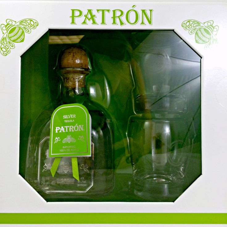 Patron Silver Tequila Gift Set With 2 Glasses Classic