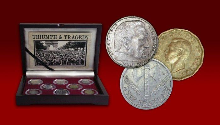Kompletní historická sada 8 mincí, které pamatují osudové okamžiky největšího válečného konfliktu v dějinách lidstva