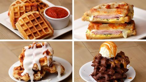Here is what you'll need! Pizza Waffles Servings: 4 waffles INGREDIENTS 1 (14-ounce) tube pizza dough or homemade pizza dough 4 tablespoons marinara sauce 1 ...