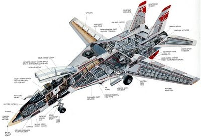 f 14 tomcat fighter jet cutaway drawing