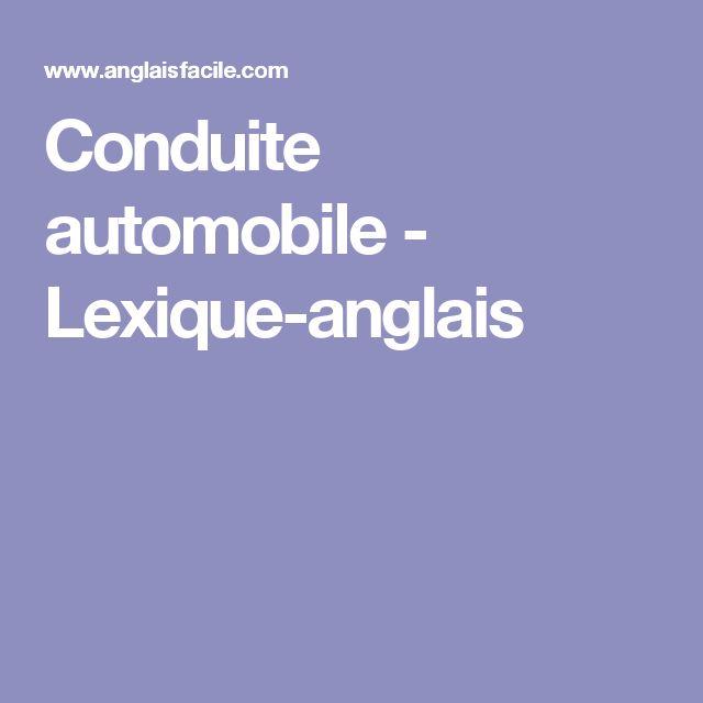 Conduite automobile - Lexique-anglais