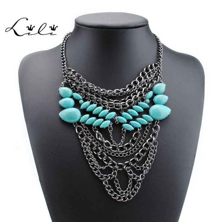 Morden себе ожерелье большой колье воротник ожерелье для женщины, Горный хрусталь цыганский стиль кристалл ожерелья и подвескикупить в магазине Lili Jewelry  factoryнаAliExpress
