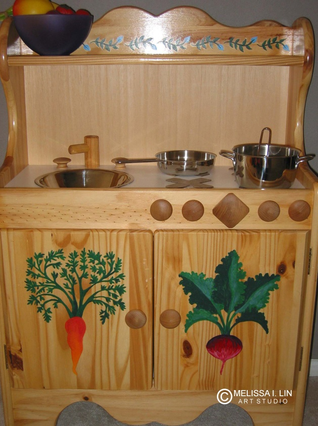 Customized kids wooden play kitchen.