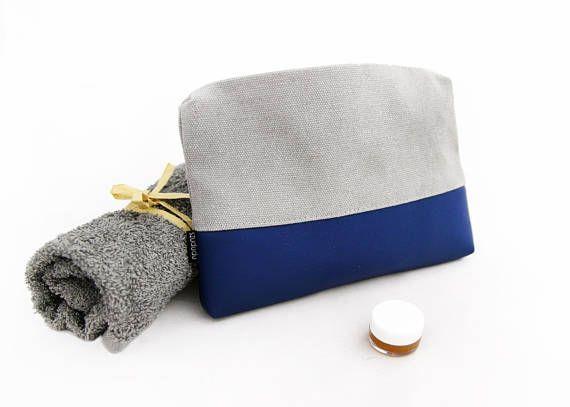 Make up bag canvas travel makeup organizer blue cosmetic bag vegan