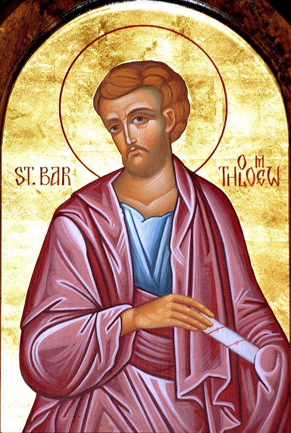 St. Bartholomew  One of the Twelve Apostles of Jesus, and is usually identified with Nathanael who appears in the Gospel according to John as being introduced to Christ by Philip, who would also become an Apostle  Read the rest of his story here: https://www.facebook.com/photo.php?fbid=675190595897433&set=a.488124947937333.1073741829.100002194965757&type=1&theater