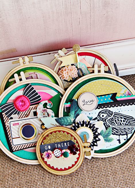 Crate Paper Craft Market Altered Wooden Embroidery Hoop Arrangement   CP Gal Christine Middlecamp