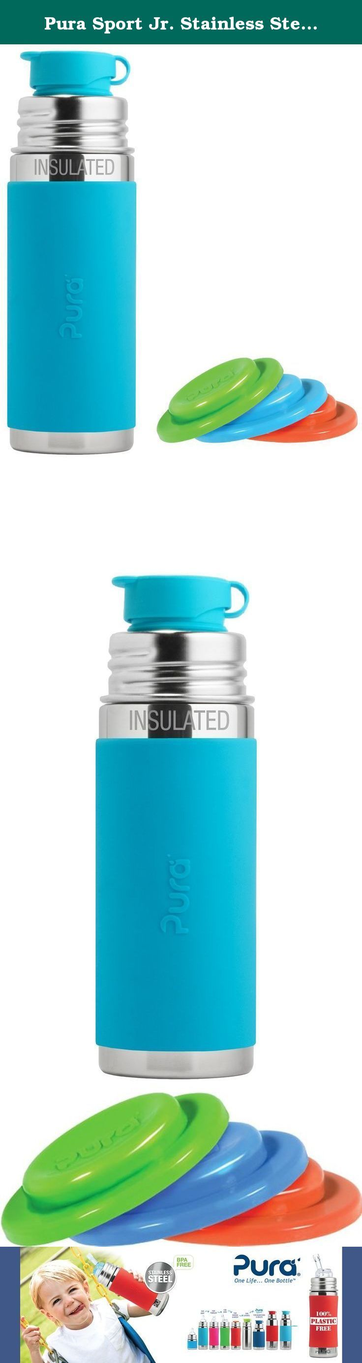 Pura Sport Jr. Stainless Steel 9 Ounce Vacuum Insulated Bottle - Aqua - Plus Set of 3 Sealing Disks. Our development team took up the challenge of creating the first (and only) 100% plastic-free sport bottles in the world. Like all bottles in the Pura Sport collection, the Pura INSULATED Jr Sport Bottle features a double-wall vacuum insulated Food Grade Stainless Steel bottle (18/8), Medical Grade Silicone components, and zero plastic parts! Each bottle features our patented, medical…