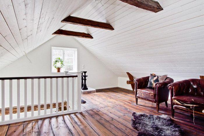 Attic + old leather armchairs - desiretoinspire.net - Swedishhome