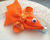 Fish Hair Clip - Goldfish - Baby Hair Clip - Ribbon Sculpture - Hair Bow - Orange Clippie - Girl Hair Clip - Infant Hair Clip