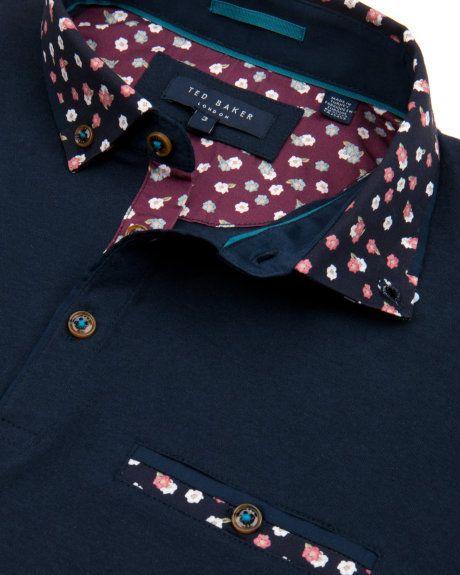 Printed collar polo shirt - Navy | Tops & T-shirts | Ted Baker UK