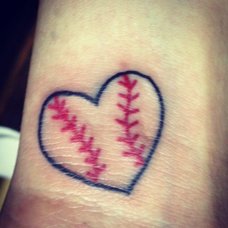 Baseball heart tattoo..... Boo than @nikkole Rae