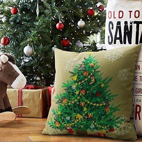 "Christmas Cushion Cover 18"" Lovely Cotton Linen Tree Design Xmas Case Khaki #easy_shopping08"
