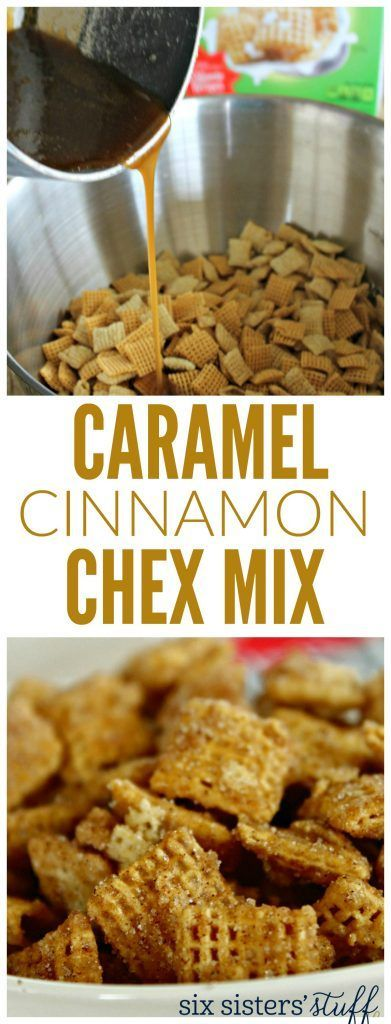 caramel cinnamon chex mix recipe. Fun road trip or party snack from @sixsistersstuff