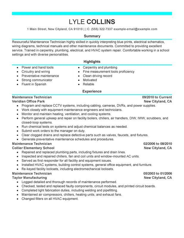 maintenance technician resume example