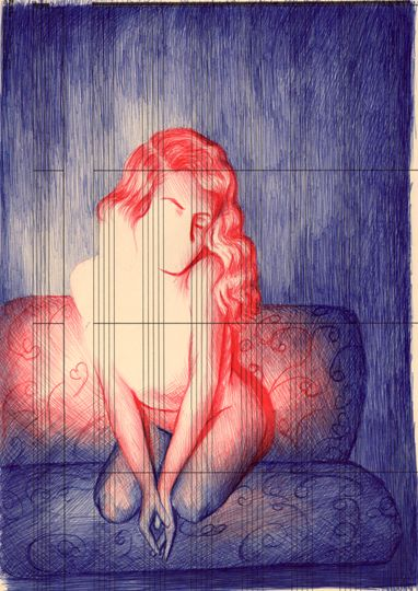 """Loveseat (2010)"" by Vanessa Prager,  Ballpoint Pen Drawing"