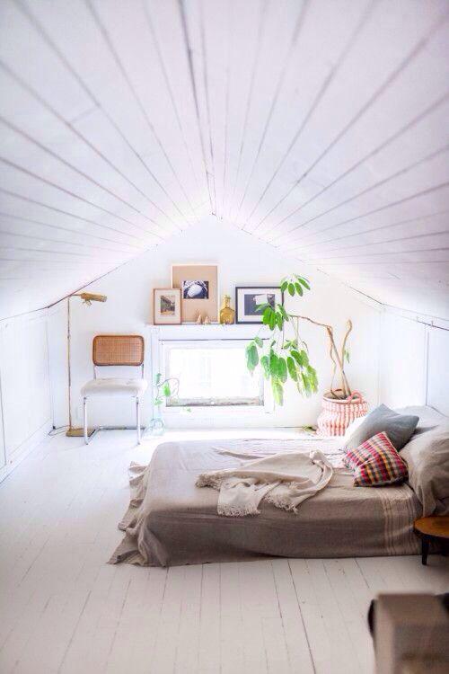 Attic bedroom. So simple & bright.