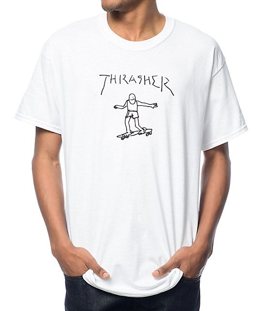 Skate in a fun new look from Mark Gonzales with this Thrasher Gonz t-shirt. Keep things light with the custom handwritten Thrasher text and guy skateboarding artwork graphic by Mark Gonzales in a pre-shrunk cotton constructed white colorway.