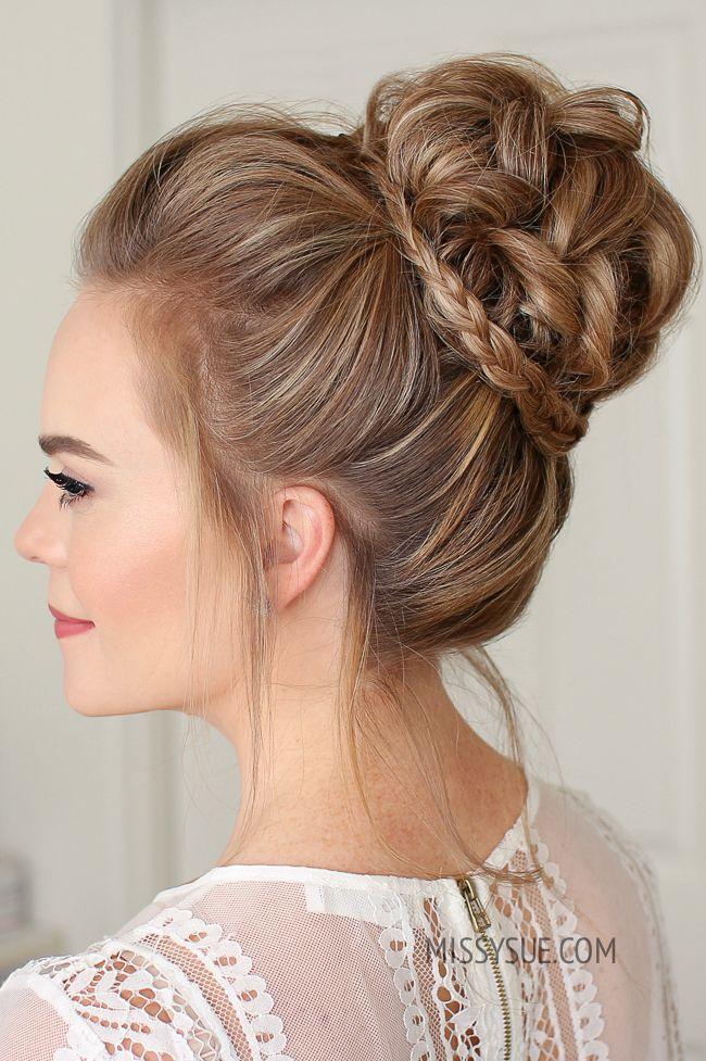 Mini Braid Wrapped High Bun Missy Sue Bridesmaid Hair Updo High Bun Hairstyles Bun Hairstyles