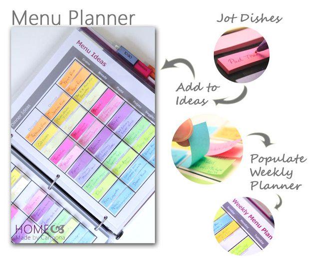 Crea un planificador de menús con pestañas adhesivas y una carpeta.
