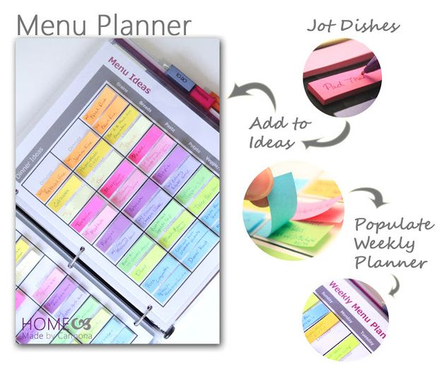 Crie um plano de cardápio com etiquetas e um fichário. | 52 Dicas de organização meticulosas para pessoas com TOC