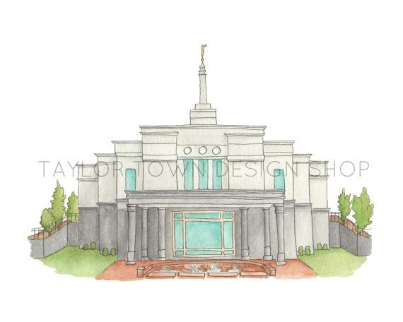 Snowflake Arizona LDS Temple Water Color by TaylorTown on Etsy