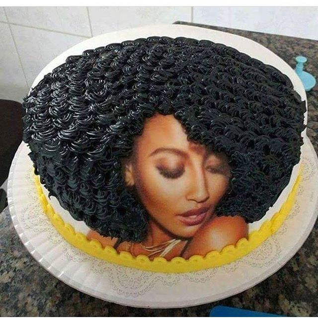 Cute Afro Black Woman Birthday Cake