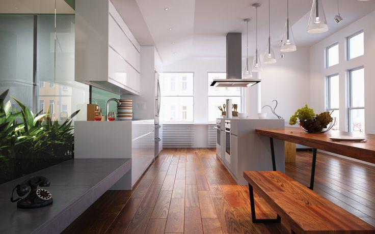 A może dębowa podłoga w kuchni?