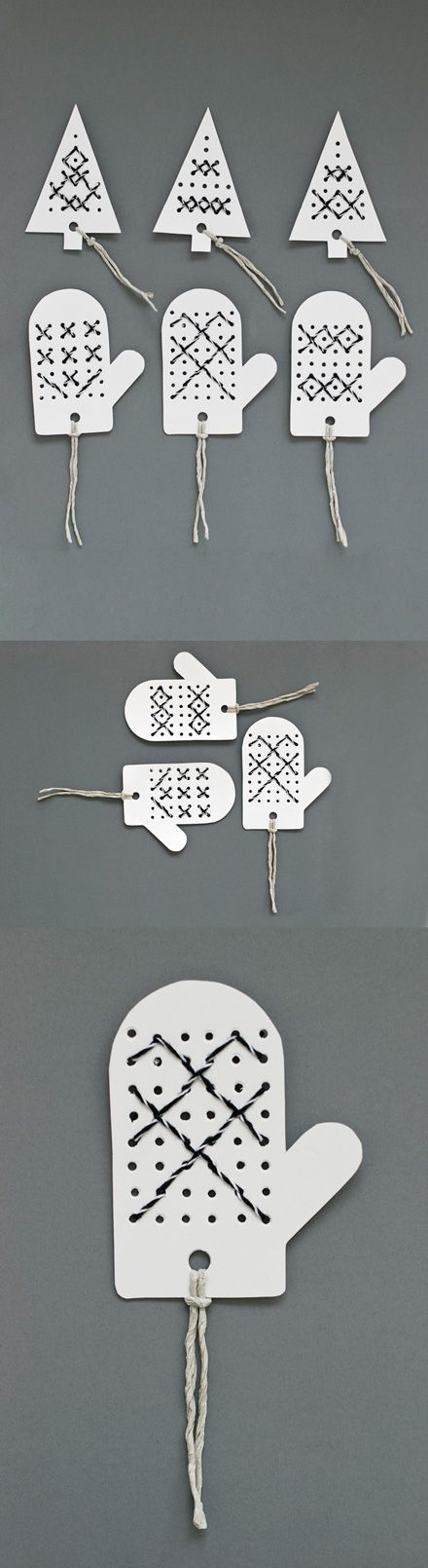 Christmas tags with a hole punch. Decorate with colorful yarn. Repinned by www.mygrowingtraditions.com