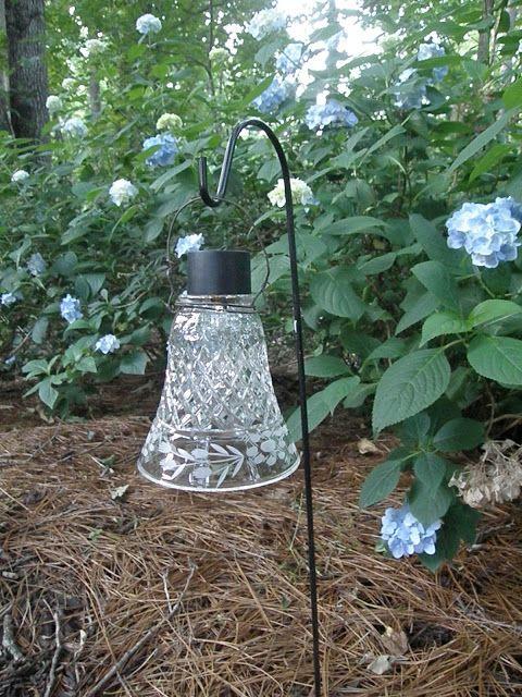 DIY solar garden lights - made from ceiling fan light shades