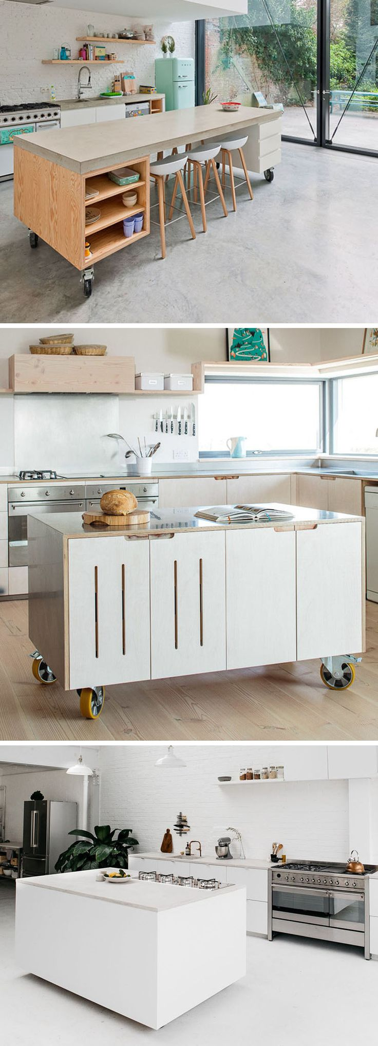 Here are 8 examples of movable kitchen islands with wheels in a variety of materials, that make these modern kitchens more versatile and convenient.