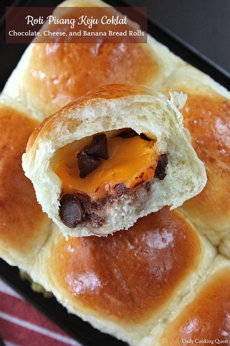 Roti Pisang Keju Coklat – Chocolate, Cheese, and Banana Bread Rolls