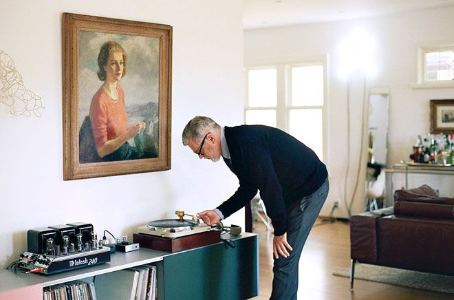 Rodney Graham photographed at home by Jennilee Marigomen