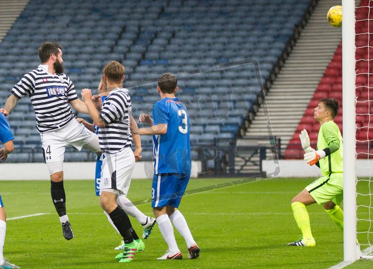 Queen's Park's Bryan Wharton scores during the IRN-BRU Cup game between Queen's Park and Kilmarnock Colts.