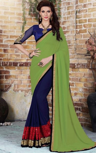 Mesmerizing Navy Blue and Parrot Green Georgette Saree